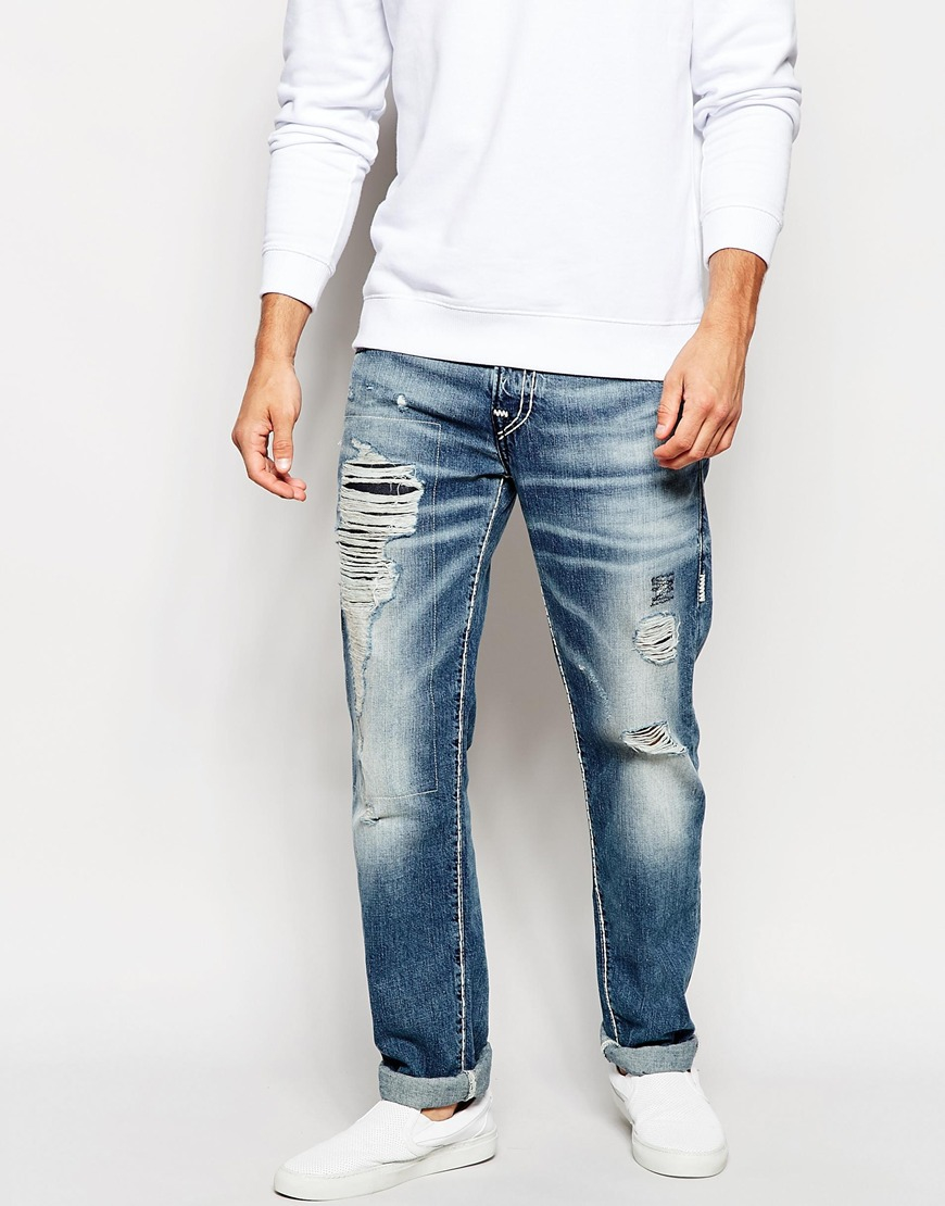 True Religion Jeans Rocco Slim Fit Super T Rip And Repair
