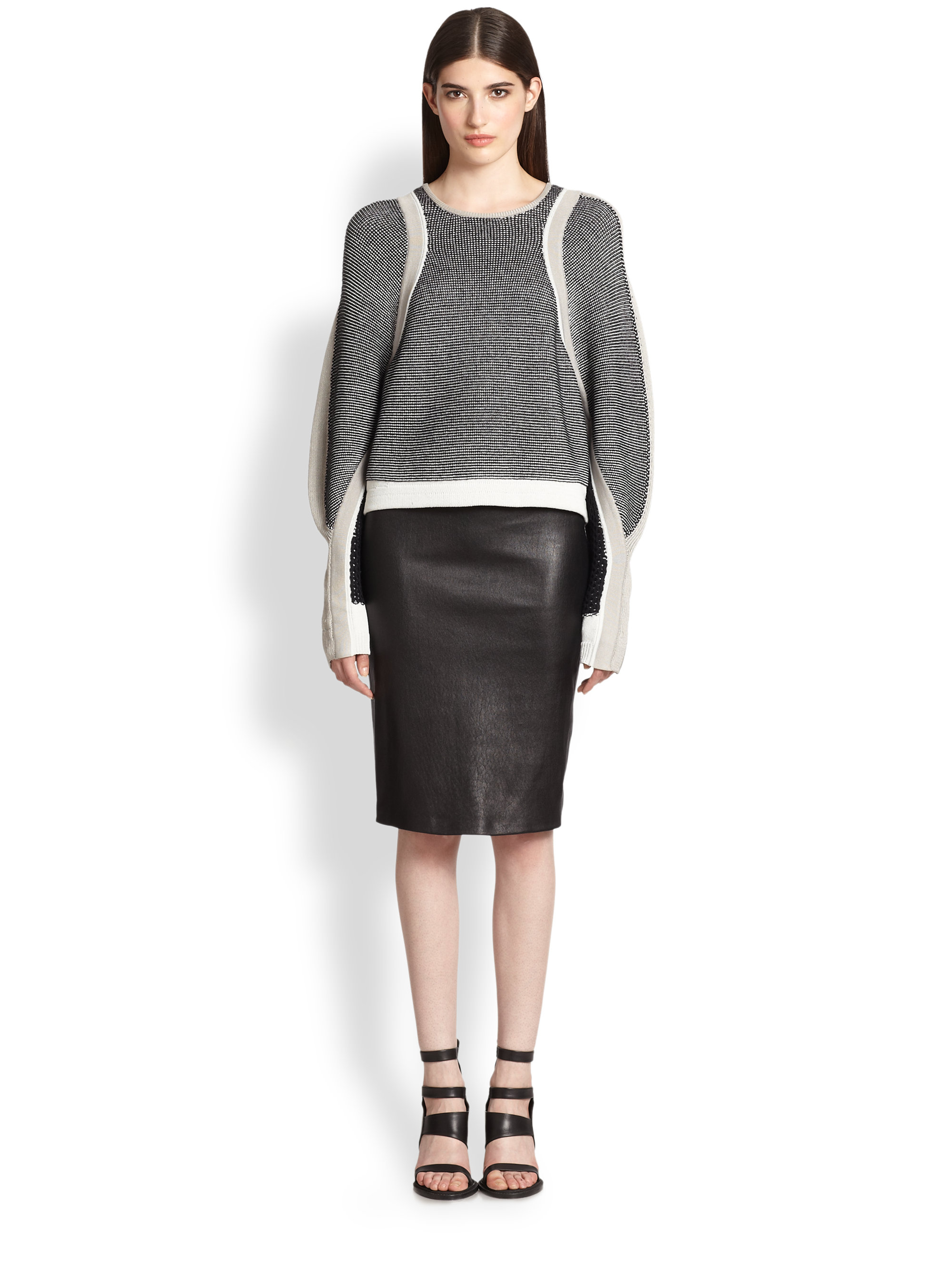 Helmut lang Leather Pencil Skirt in Black | Lyst