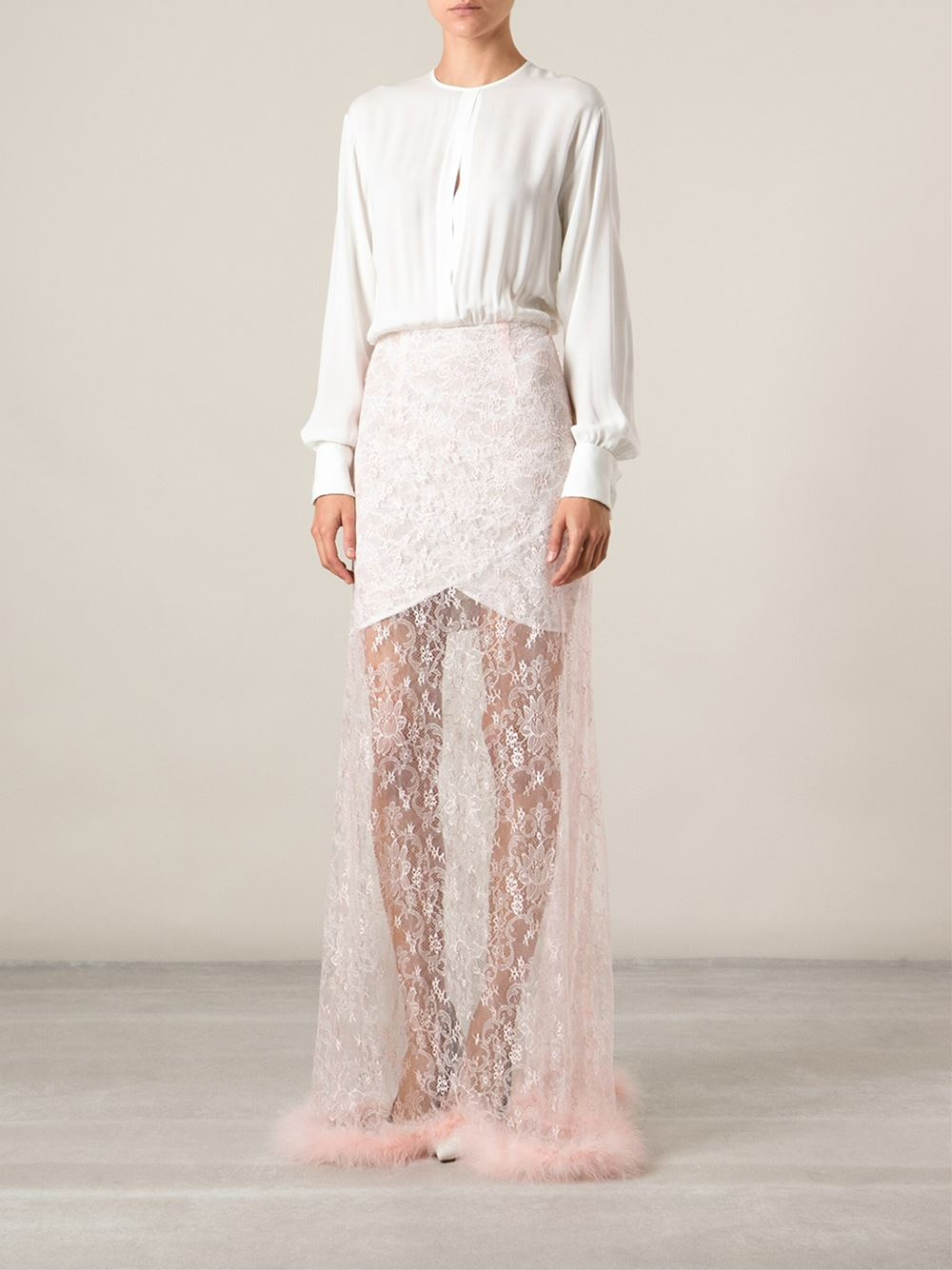 Alessandra Rich Layered Lace Faux Fur Trimmed Long Dress