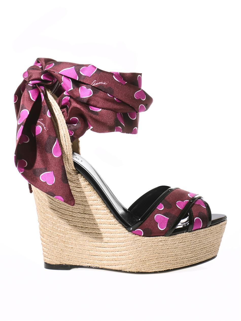 f412e25ef2c Gucci Multicolor Carolina Raffia Silk Wedge Sandals