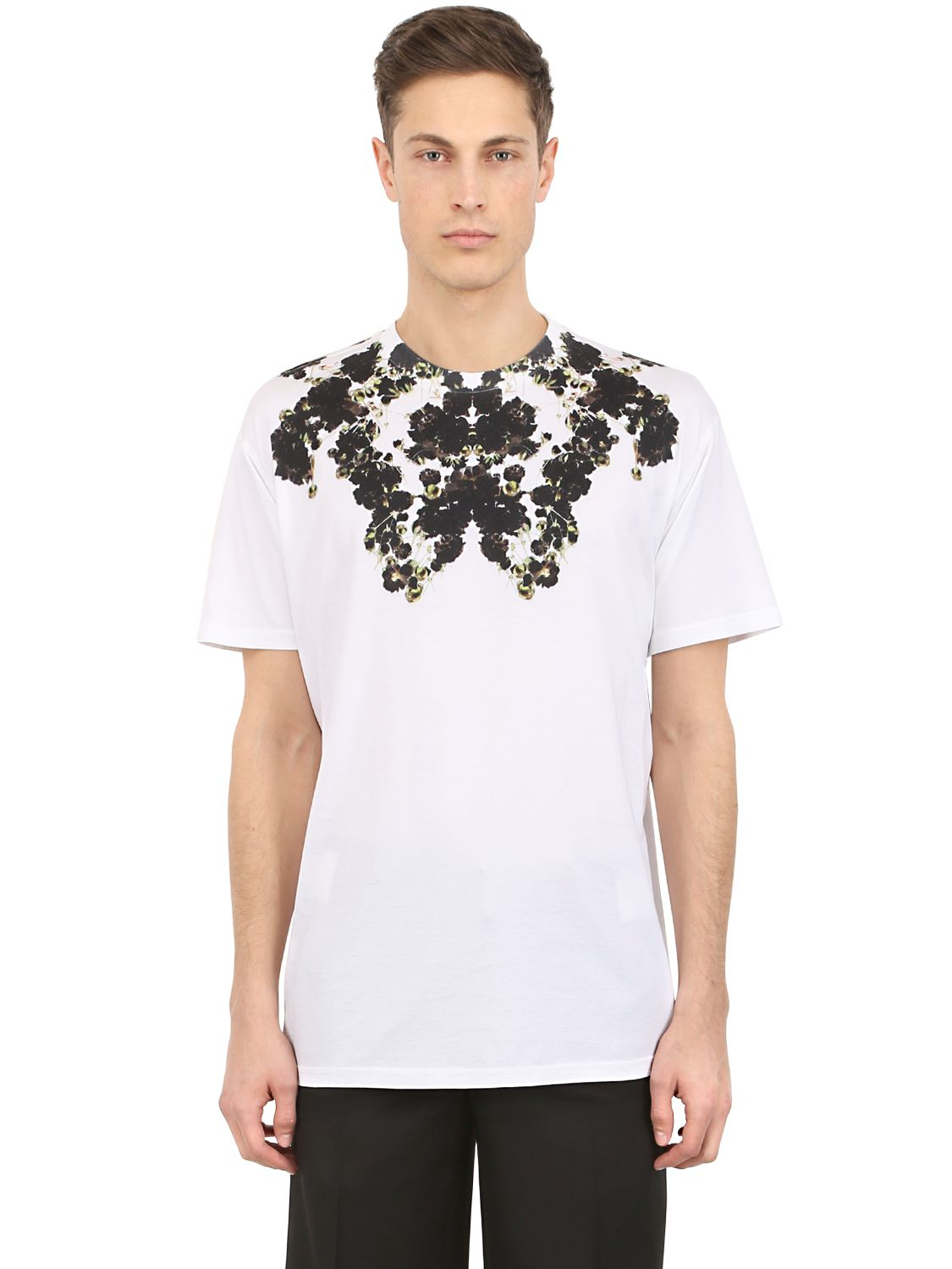 Givenchy floral print t shirt in white for men lyst for Givenchy t shirt man