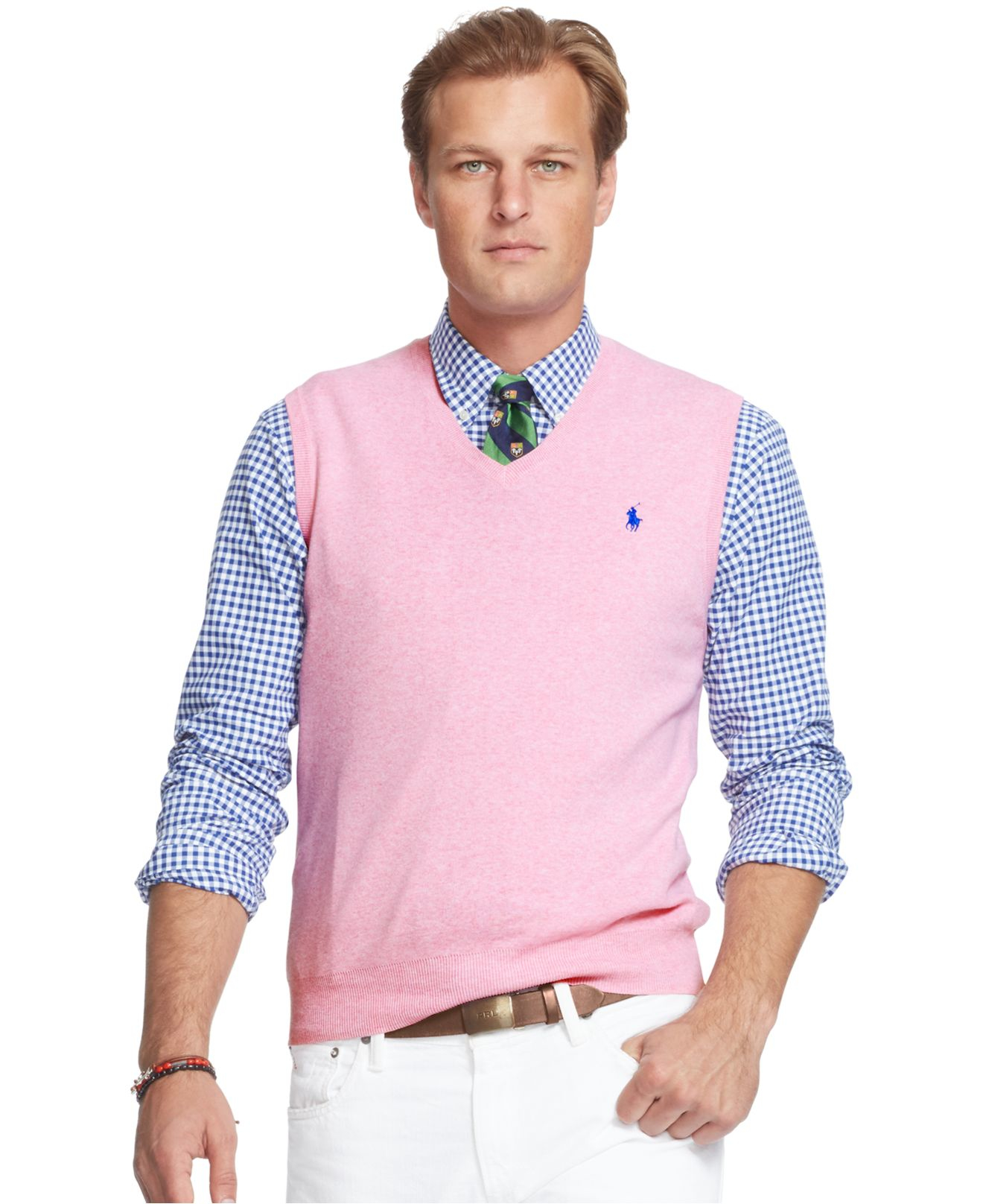 8e4a6787 Polo Ralph Lauren Pink Men's Big And Tall Pima V-neck Vest for men