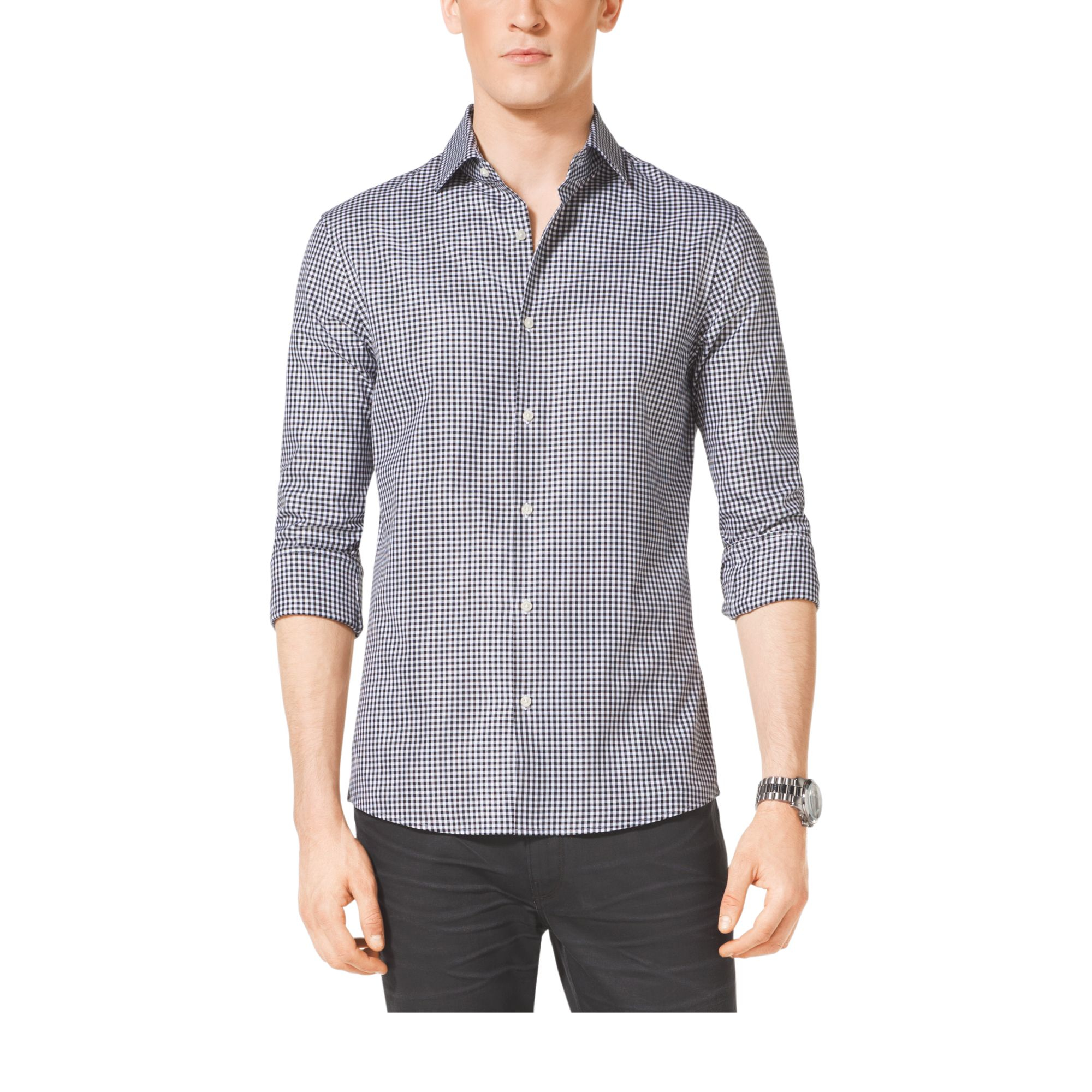 Michael Kors Slim Fit Check Cotton Shirt In Gray For Men
