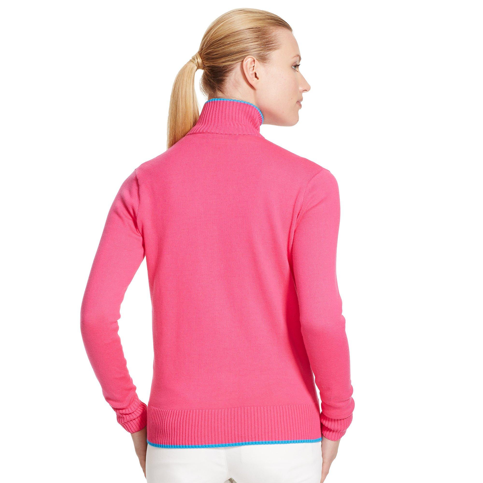 Ralph lauren golf Full-zip Mockneck Sweater in Pink | Lyst