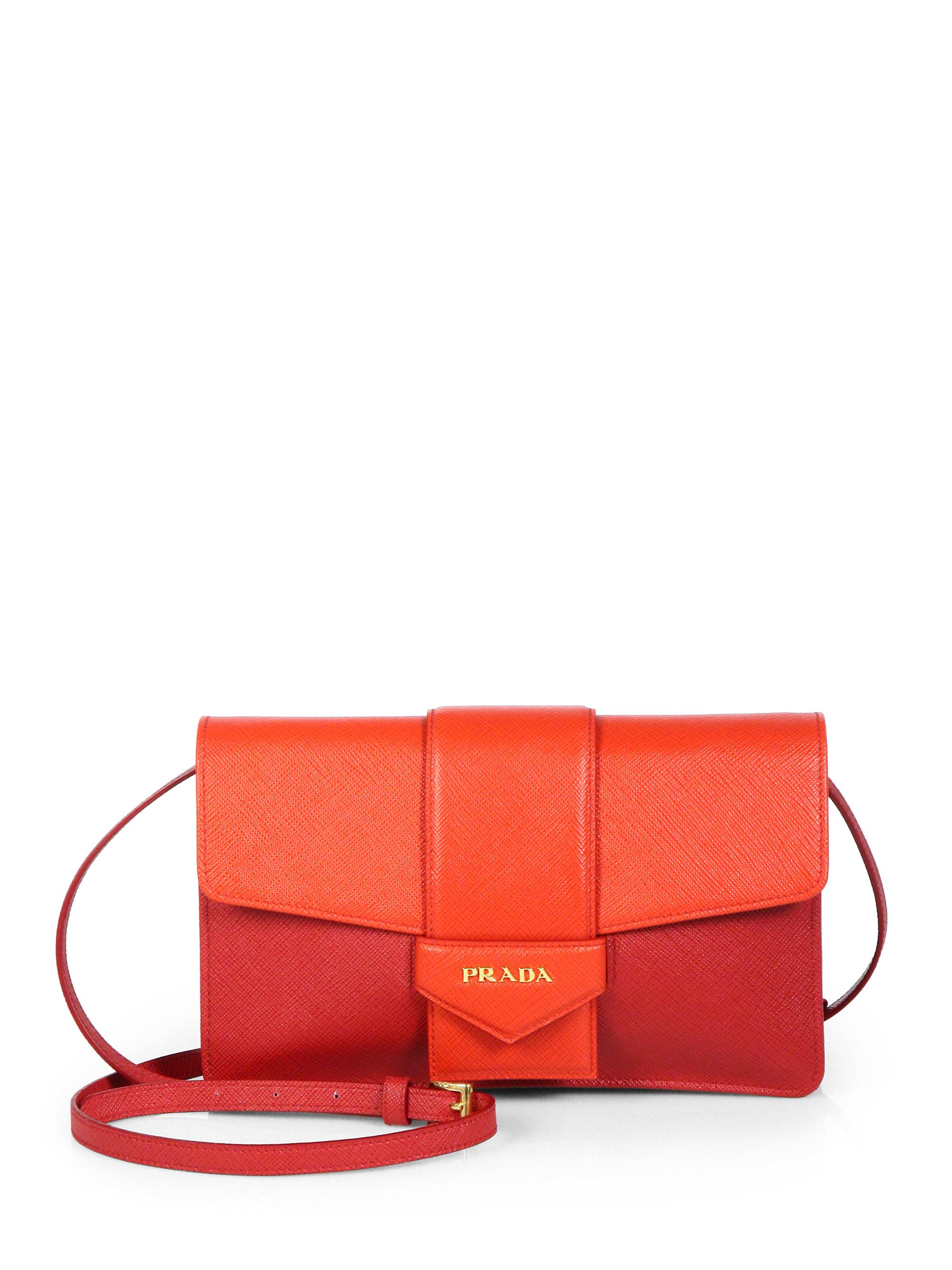 3c4ee0c6d416 ... switzerland lyst prada saffiano bicolor crossbody wallet in red f1fc3  69078