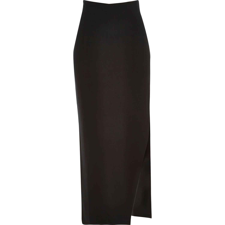 river island black side split maxi skirt in black lyst