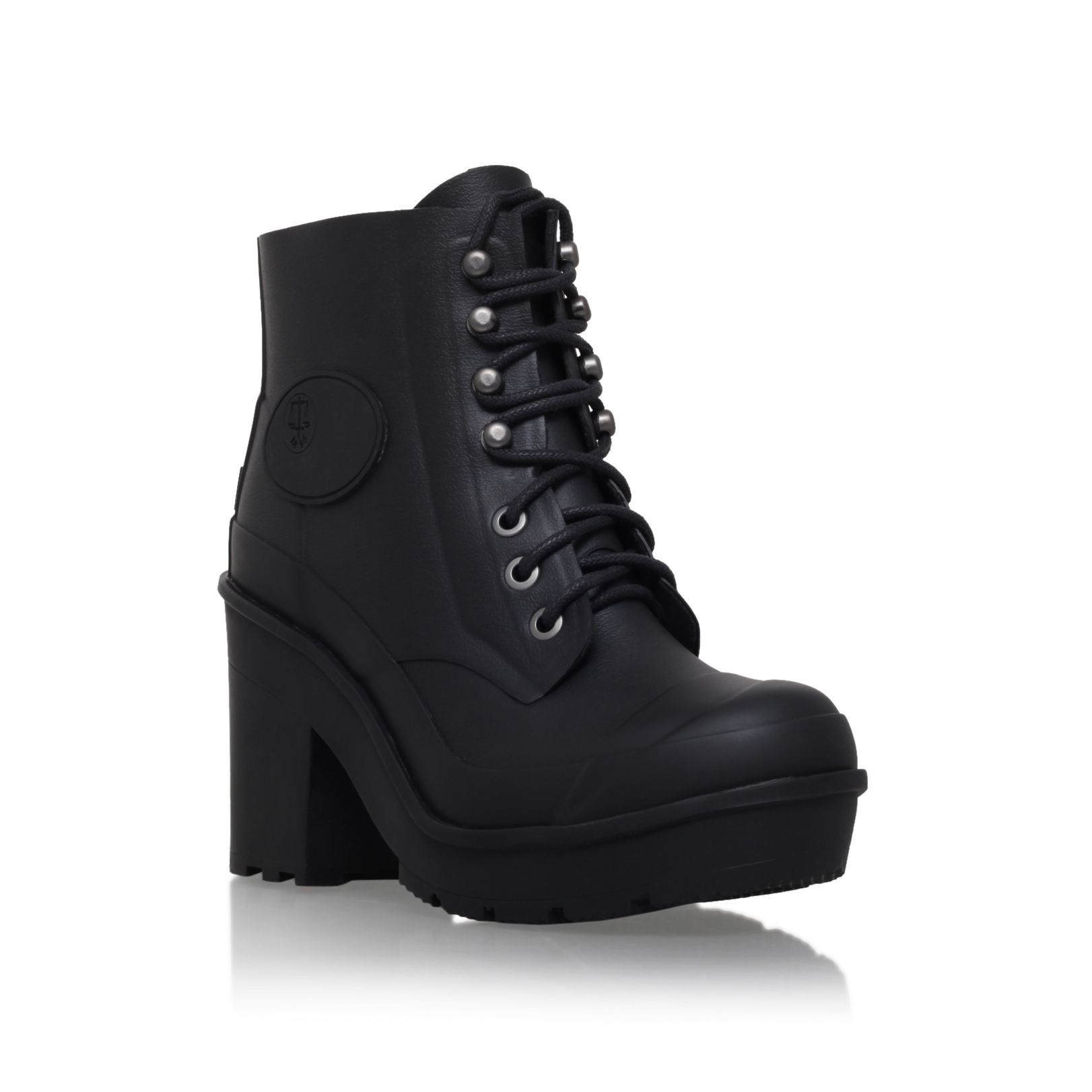 Hunter Original Bullseye Lace Up Ankle Boots in Black | Lyst