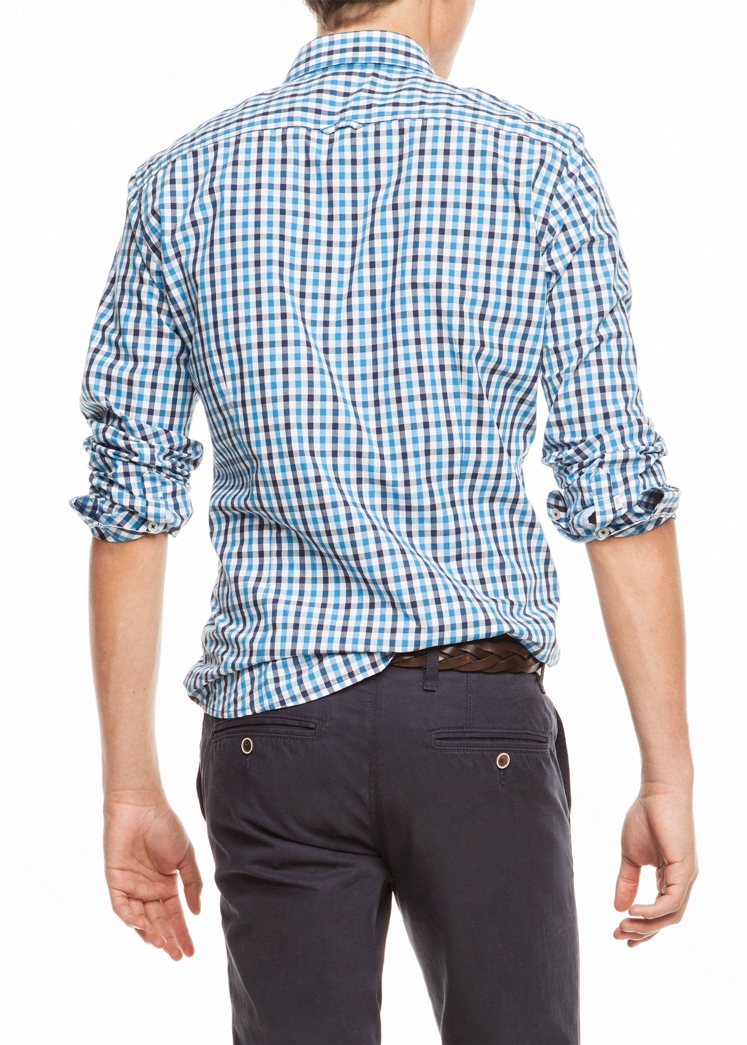 Lyst mango slim fit check shirt in blue for men for Slim fit check shirt