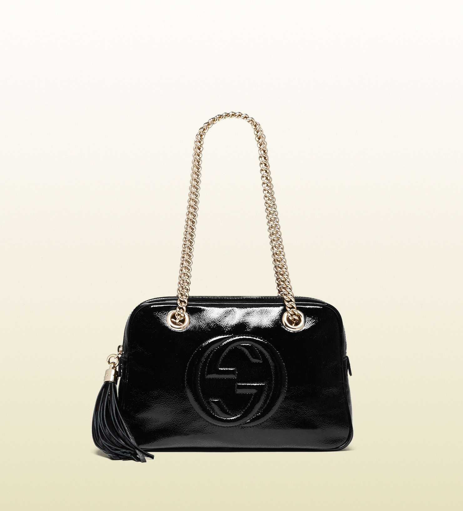 lyst gucci soho soft patent leather chain shoulder bag in black. Black Bedroom Furniture Sets. Home Design Ideas