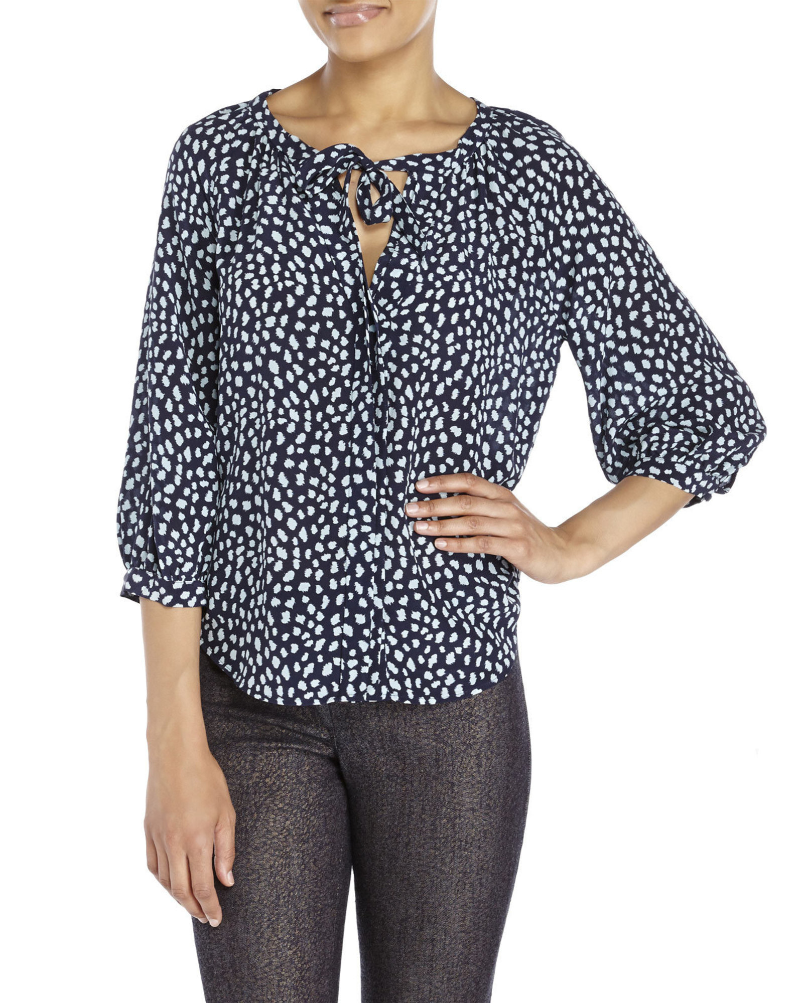 Joie Navy Madera Printed Silk Blouse In Blue Lyst