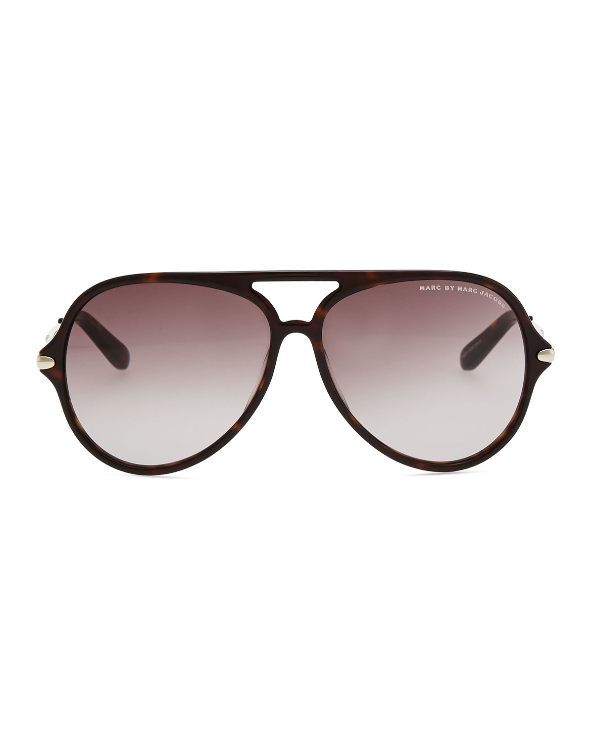 lyst marc by marc jacobs tortoise plastic aviator sunglasses in gray. Black Bedroom Furniture Sets. Home Design Ideas