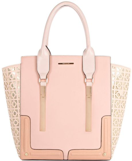 river island light pink metallic laser cut tote bag in pink lyst. Black Bedroom Furniture Sets. Home Design Ideas