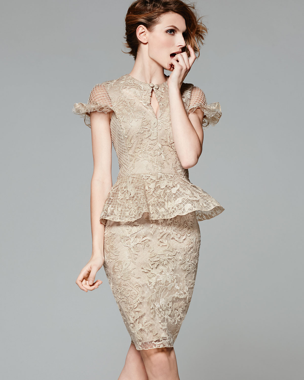 Lyst Tadashi Shoji Capsleeve Lace Peplum Cocktail Dress In Natural