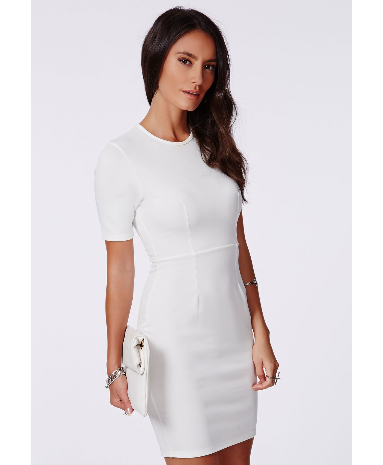 Missguided Aushi White Fitted Bodycon Mini Dress In White