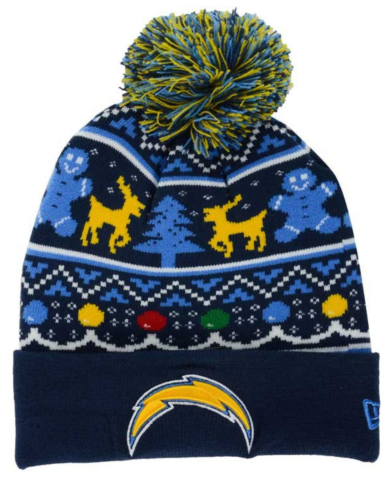 the best attitude b3abf a4ce4 KTZ Blue San Diego Chargers Christmas Sweater Pom Knit Hat for men