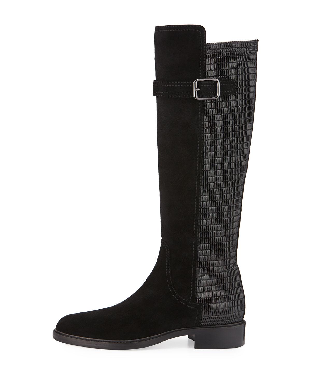 aquatalia gael suede smocked inset knee boot in black lyst