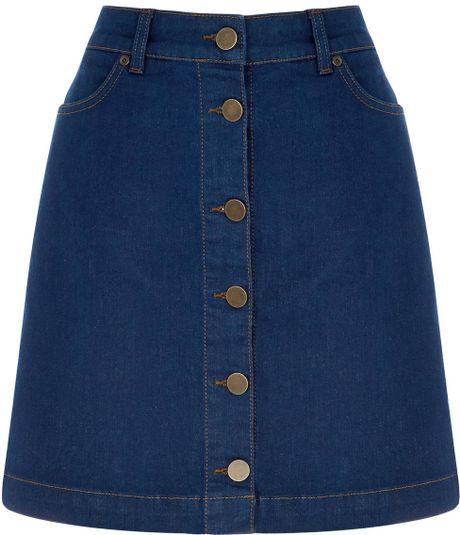 oasis blue button through mini skirt lyst