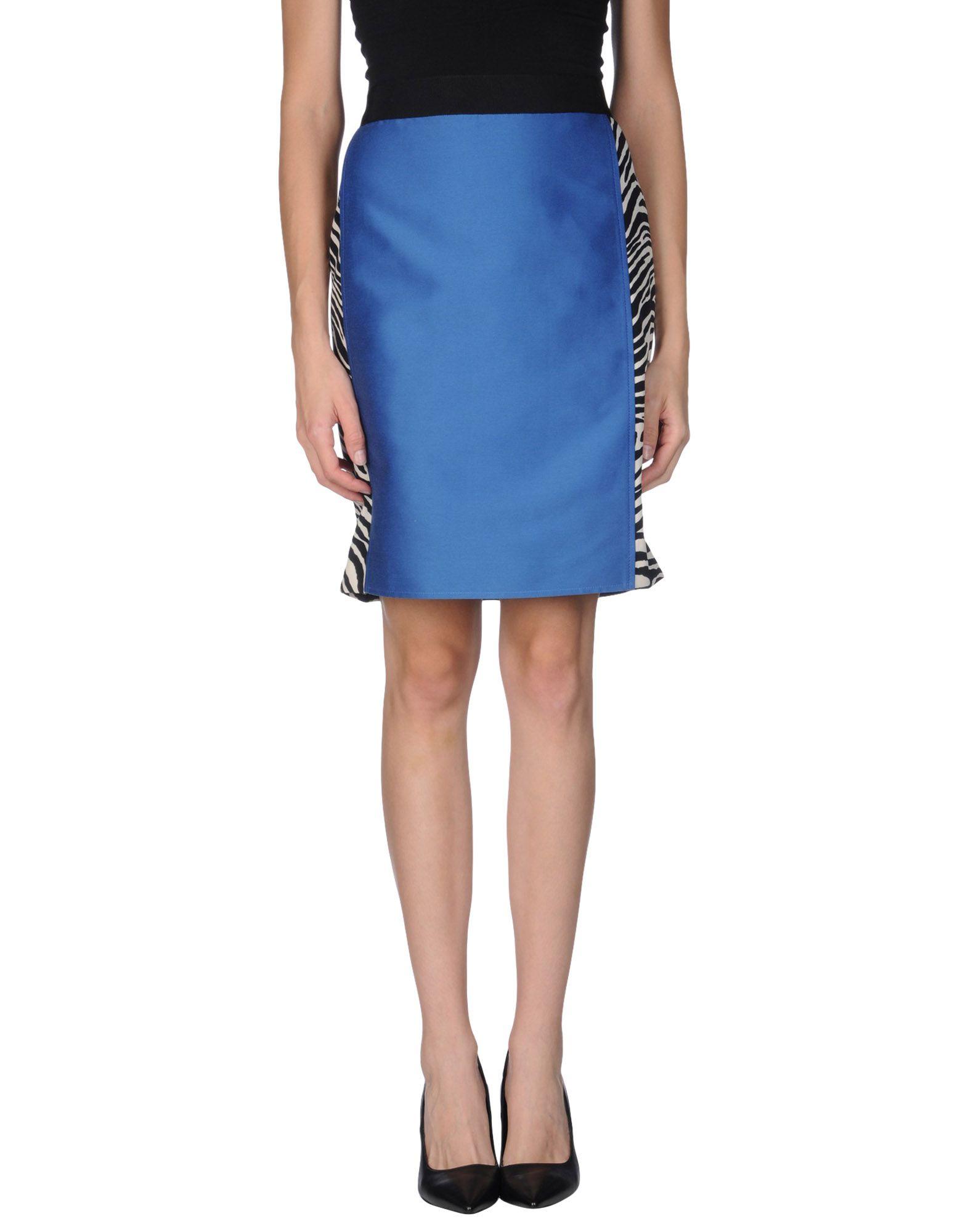 alberta ferretti knee length skirt in blue save 69 lyst