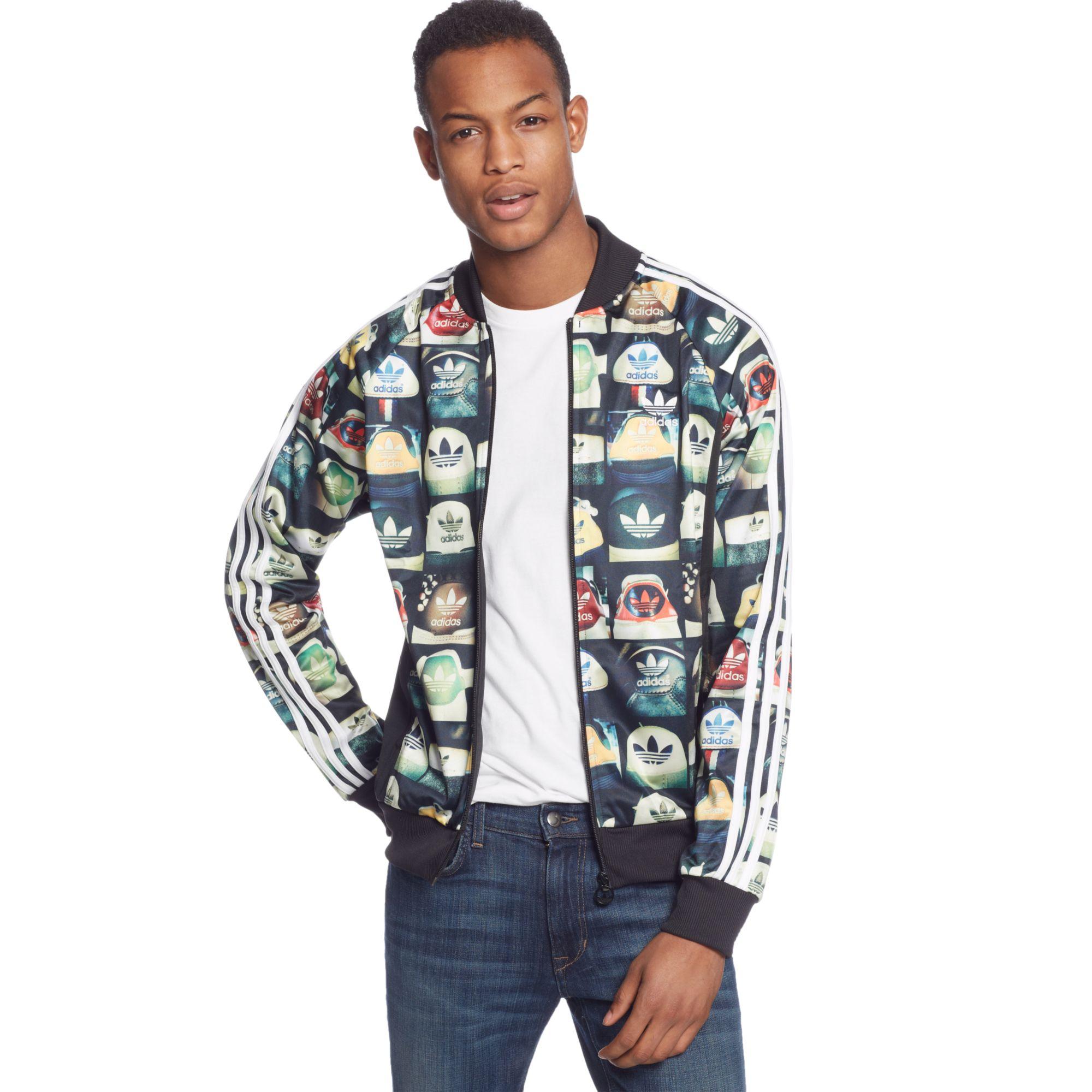 Men Jacket Superstar Adidas Print Black Allover Track Originals For 1lKJTFc