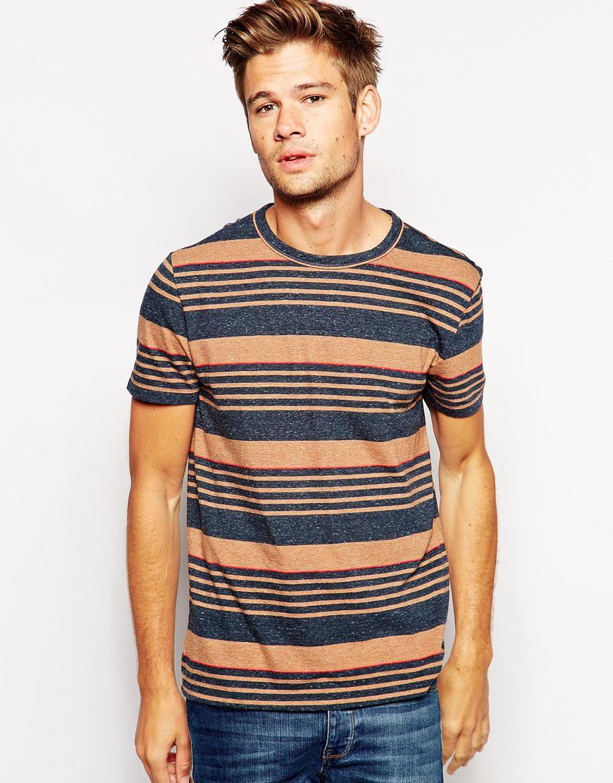 lyst boss orange t shirt with multi stripe for men. Black Bedroom Furniture Sets. Home Design Ideas