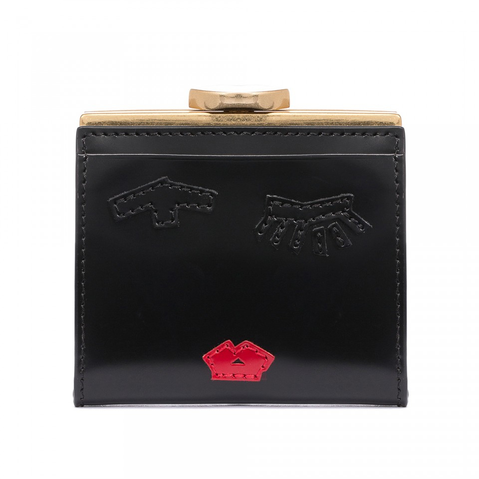 Lyst - Lulu Guinness Tape Face Polished Leather Folded Frame Purse ...