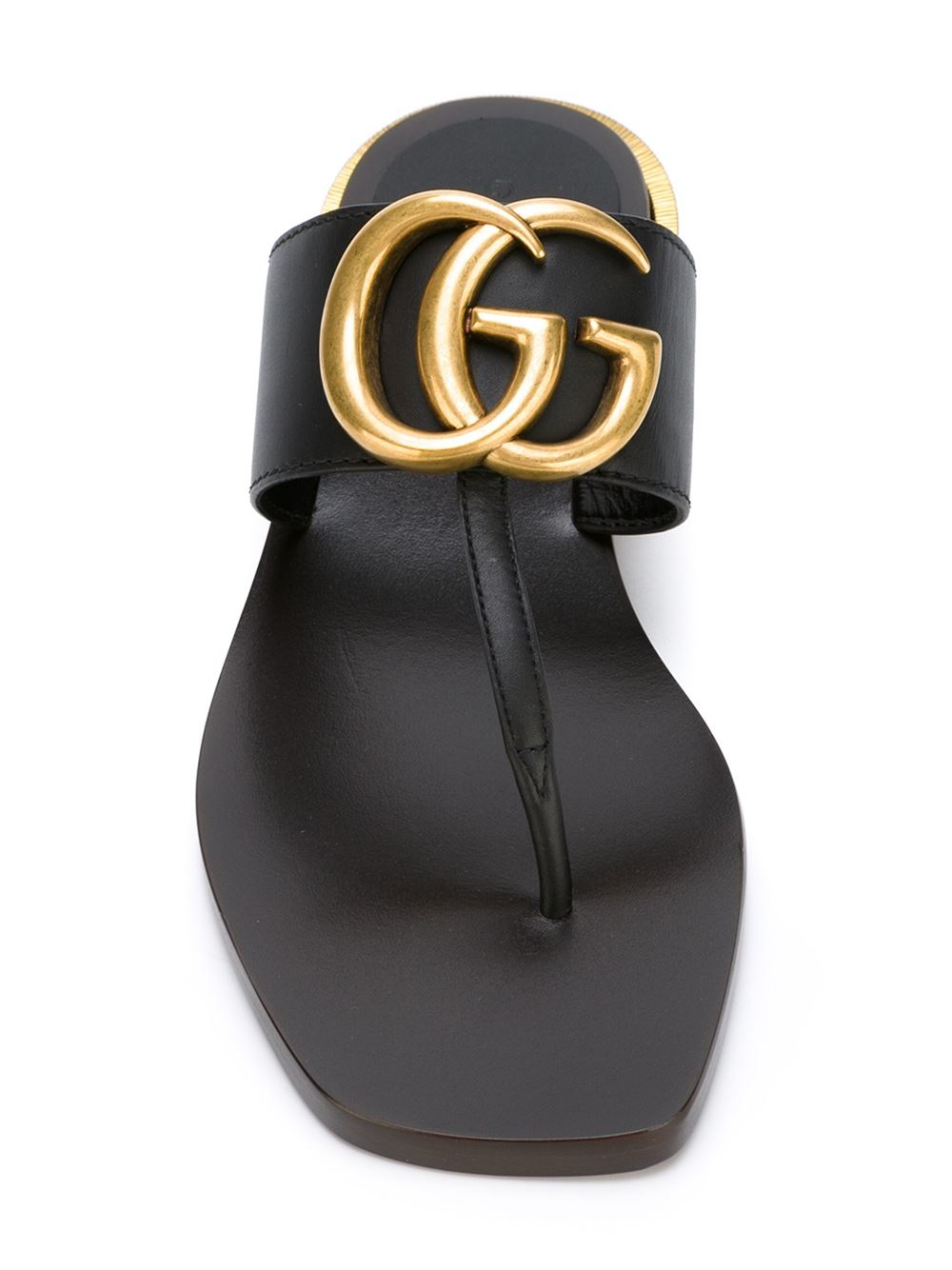 Gucci Double G Leather Sandals In Black Lyst