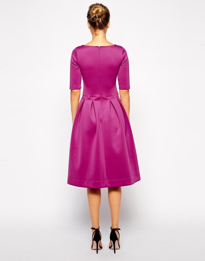 Lyst Asos Debutante Scuba Dress With Half Sleeve In Purple