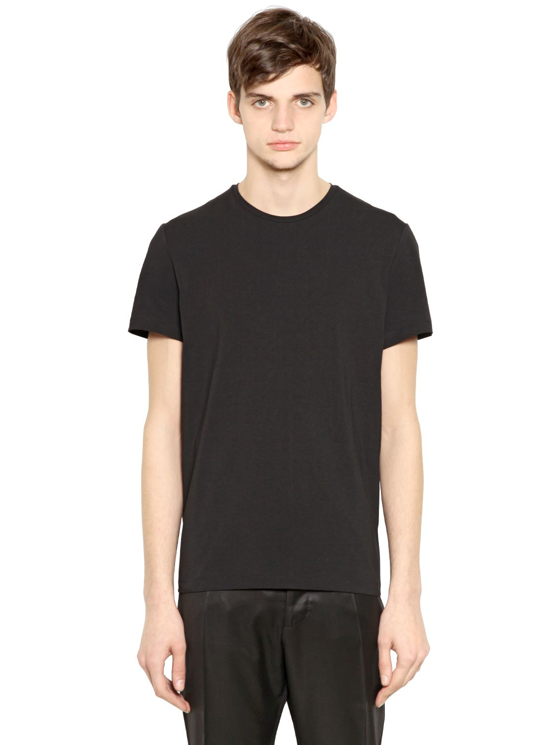 lyst jil sander stretch cotton t shirt in black for men. Black Bedroom Furniture Sets. Home Design Ideas