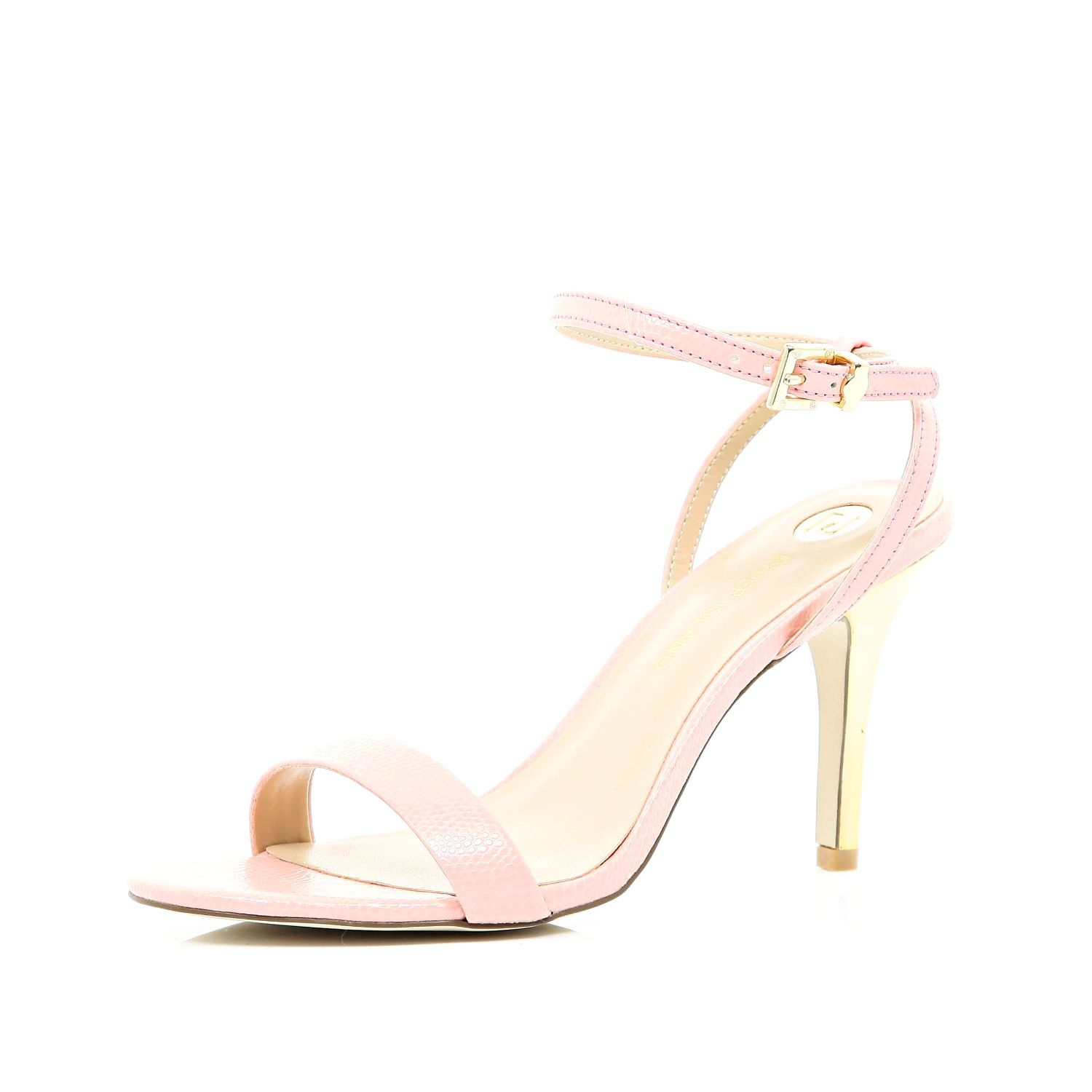 f8337a7fc5a River Island Pale Pink Barely There Mid Heel Sandals - Lyst