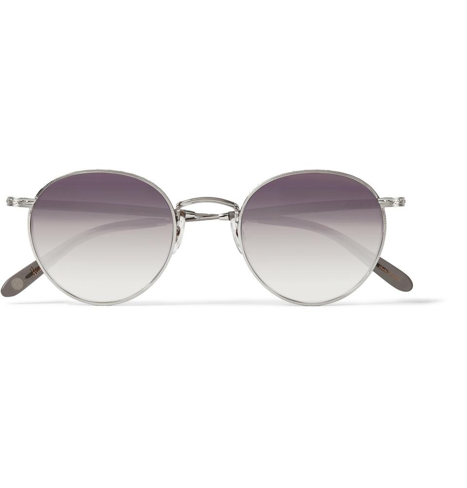 fc1f54c9ec Lyst - Garrett Leight Wilson Round-Frame Metal Mirrored Sunglasses ...