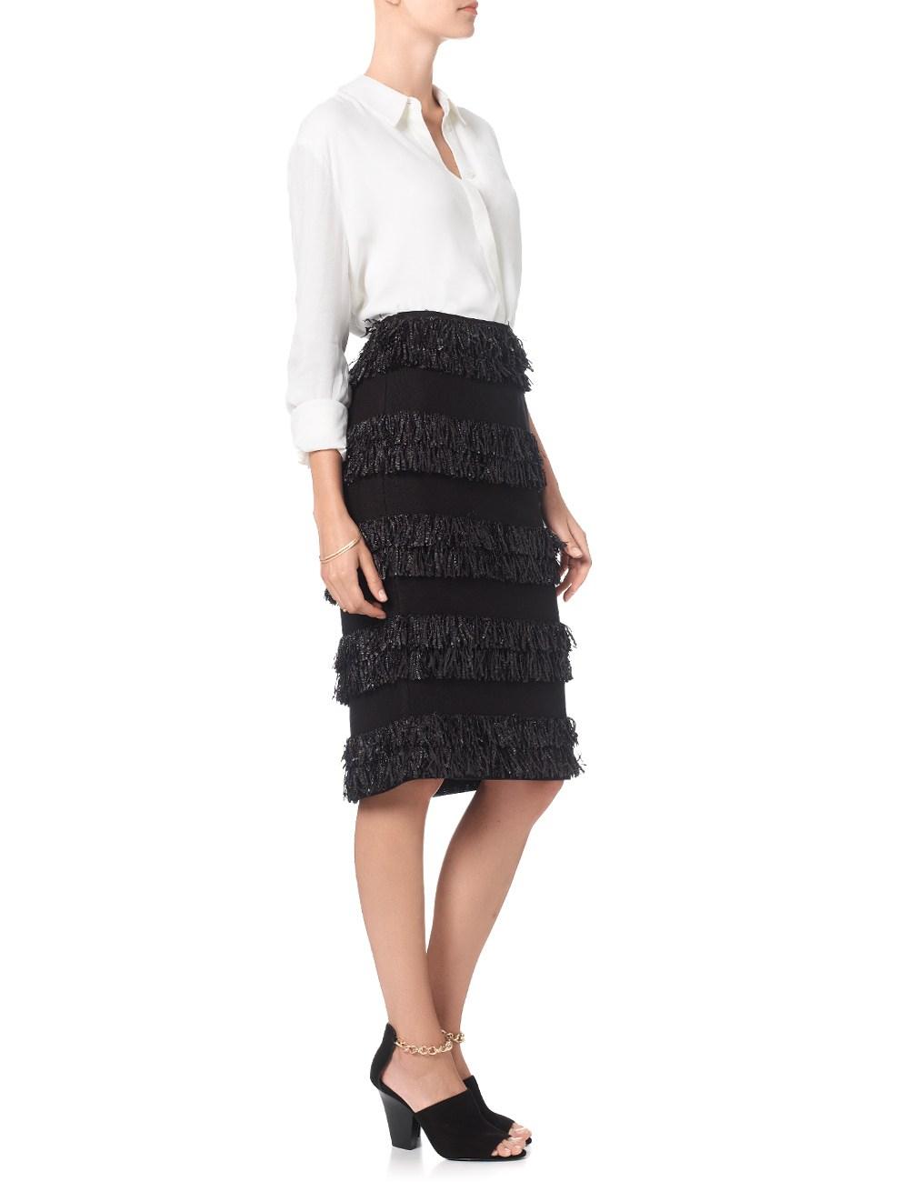 samuji black fringed pencil skirt in black lyst