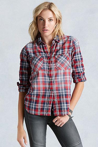 True religion utility plaid womens shirt in blue lyst for Womens red tartan plaid shirt