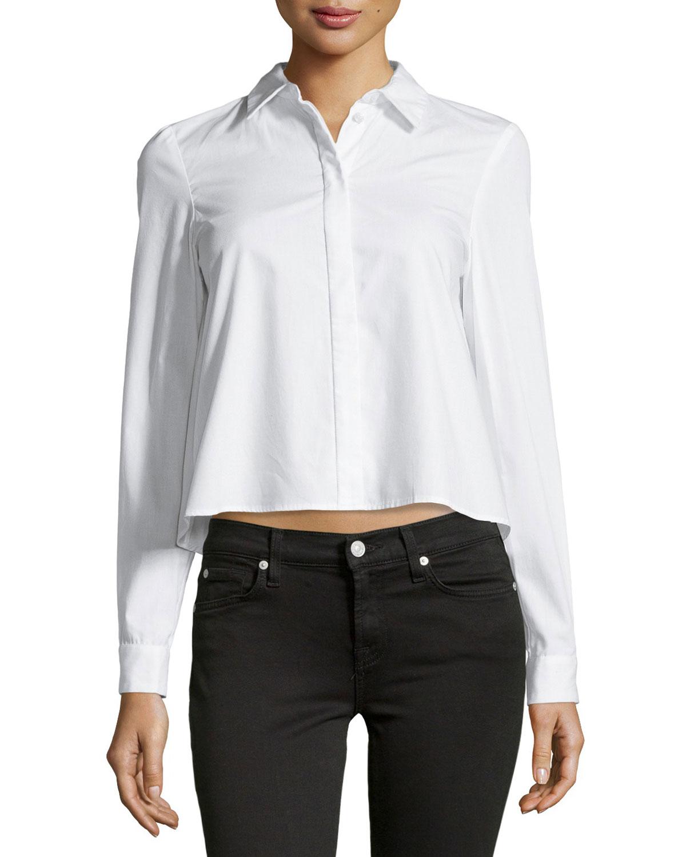 Lyst zac zac posen long sleeve poplin shirt in white for Long sleeve poplin shirt
