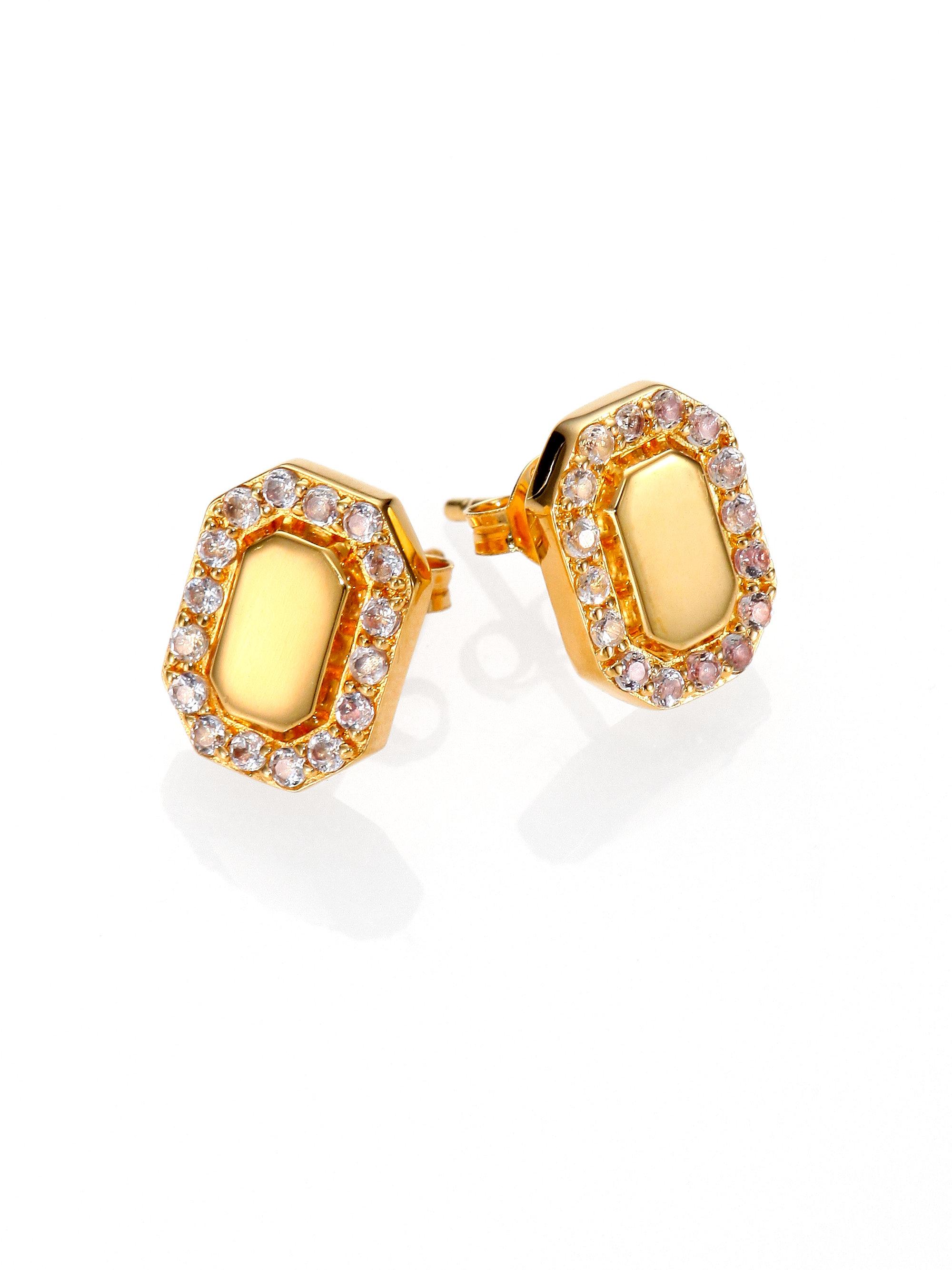Elizabeth And James Torrens Pave White Topaz Earrings In Metallic