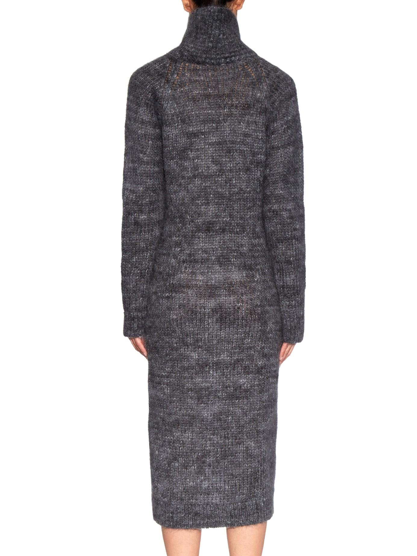 Raey Marl-knit Mohair-blend Midi Dress in Gray Lyst