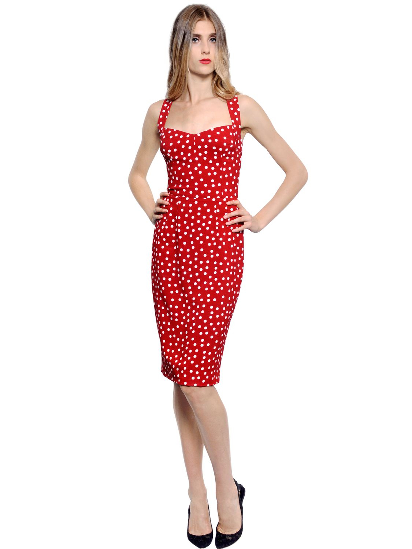Dolce Amp Gabbana Polka Dot Printed Stretch Cady Dress In