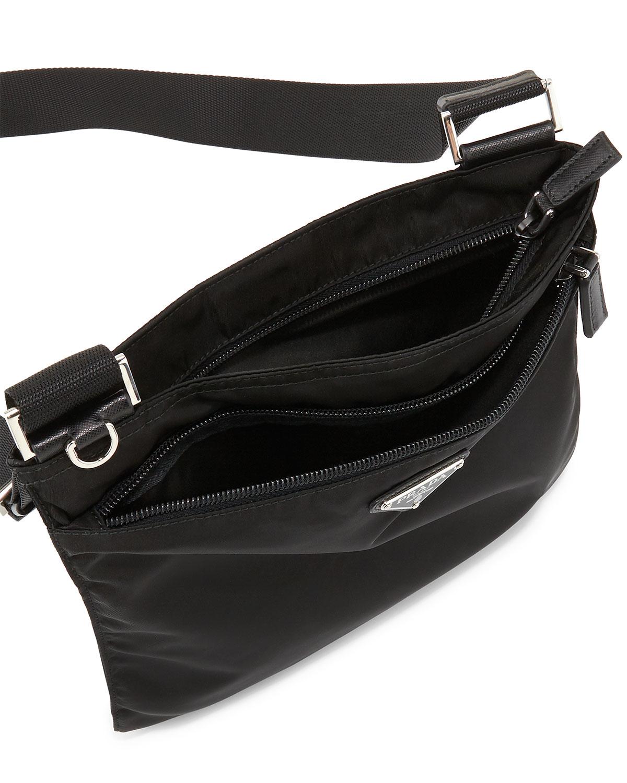 f4b9b0f07a96f Lyst - Prada Vela Flat Crossbody Bag in Black