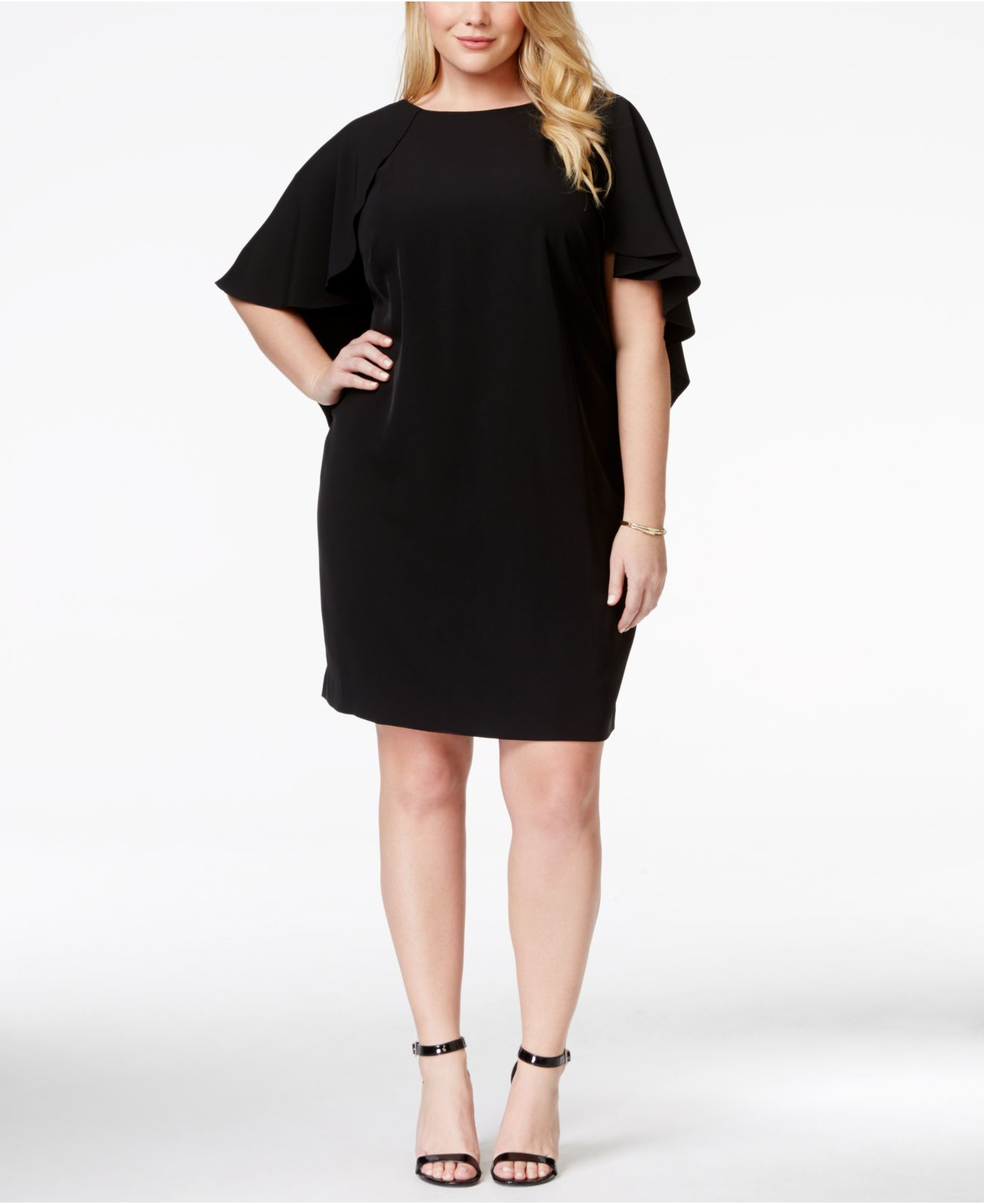 Plus Size Batwing-sleeve Caplet Shift Dress