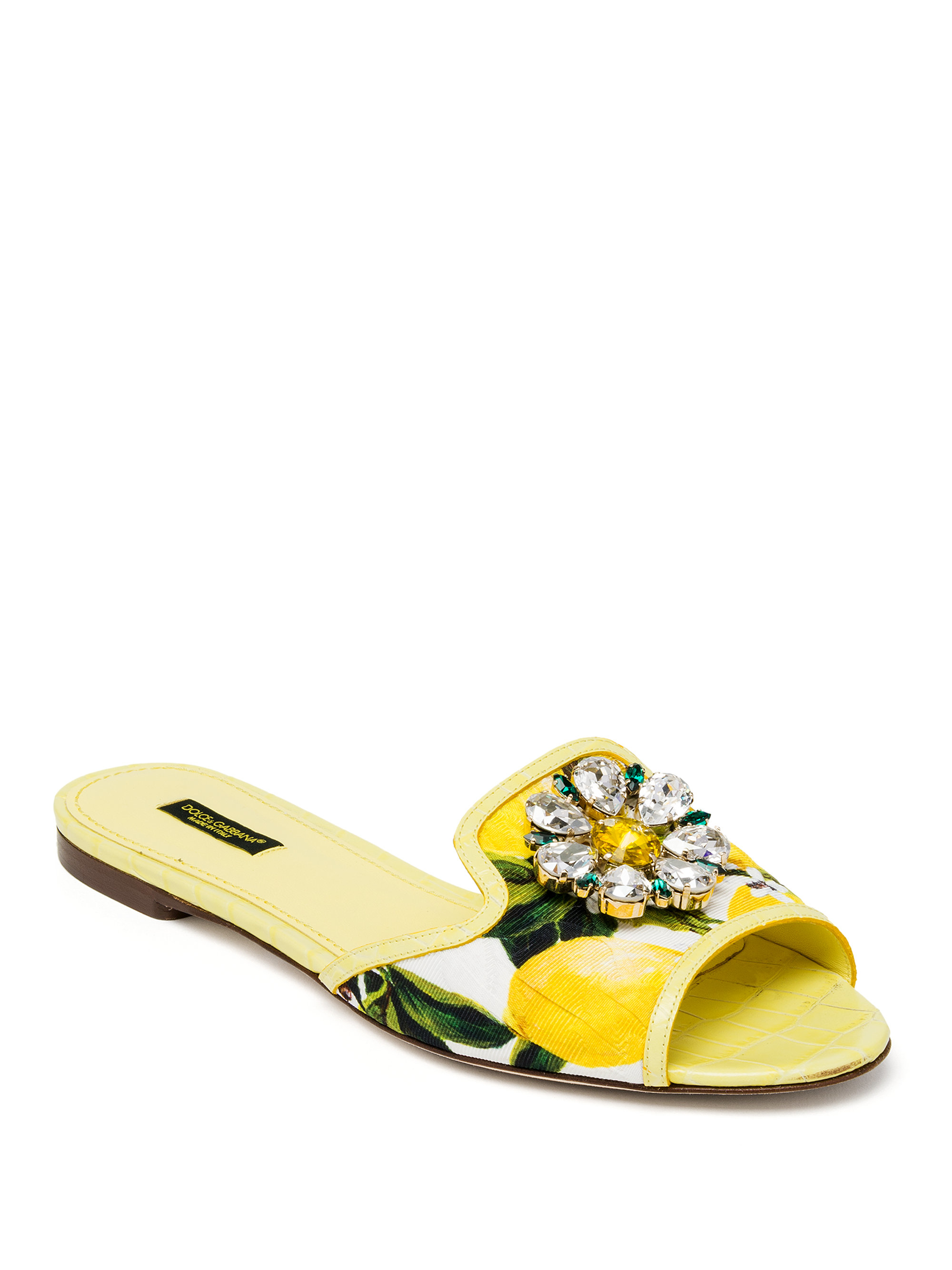 Dolce Amp Gabbana Jeweled Lemon Slide Sandals In Yellow Lyst