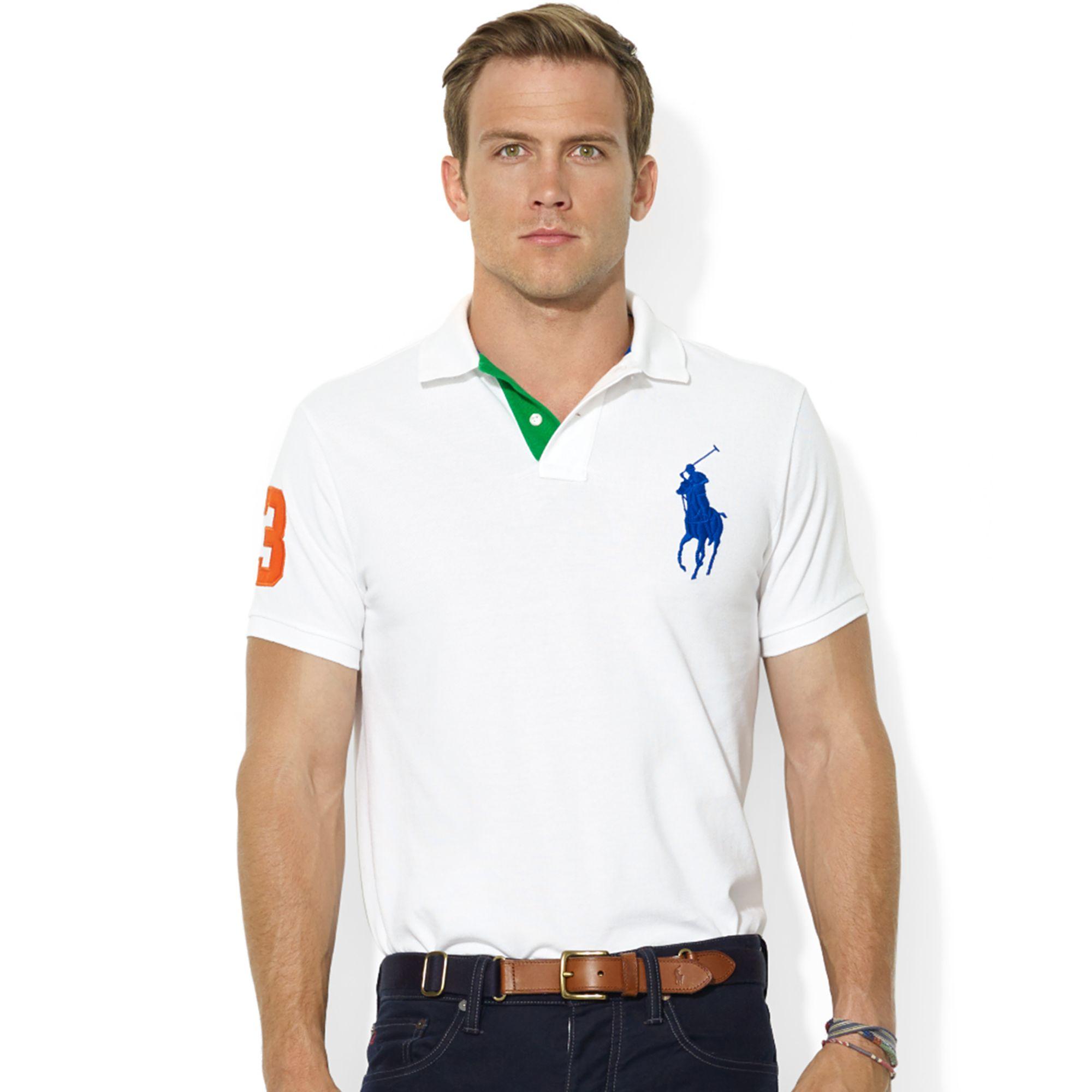 8551d0b2b61 Lyst - Ralph Lauren Customfit Big Pony Mesh Polo in White for Men