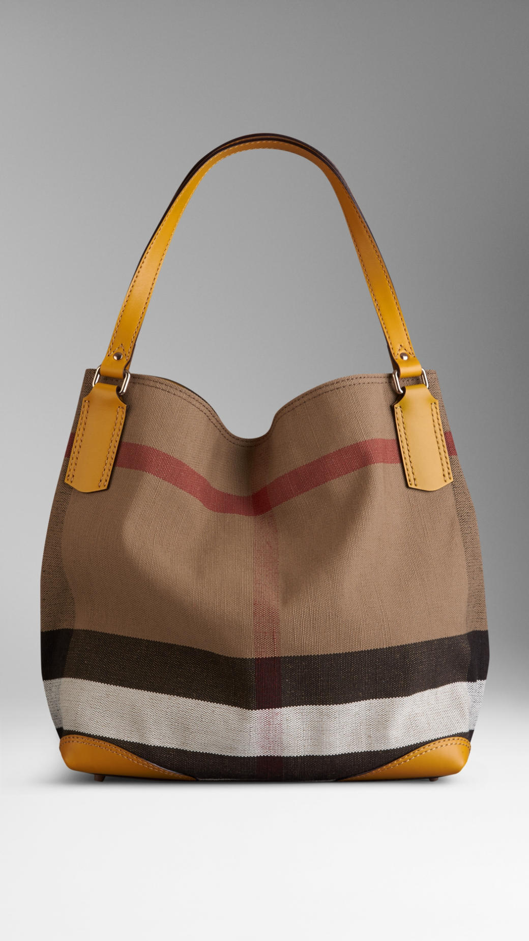 Burberry Medium Canvas Check Tote Bag in Yellow | Lyst
