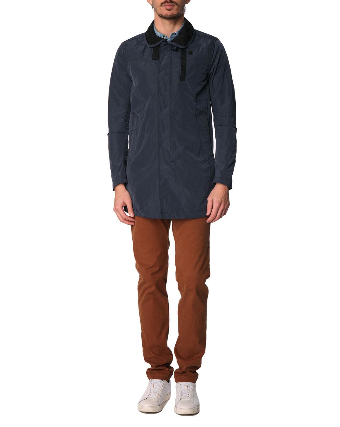 g star raw navy nylon garber trench coat in blue for men navy lyst. Black Bedroom Furniture Sets. Home Design Ideas