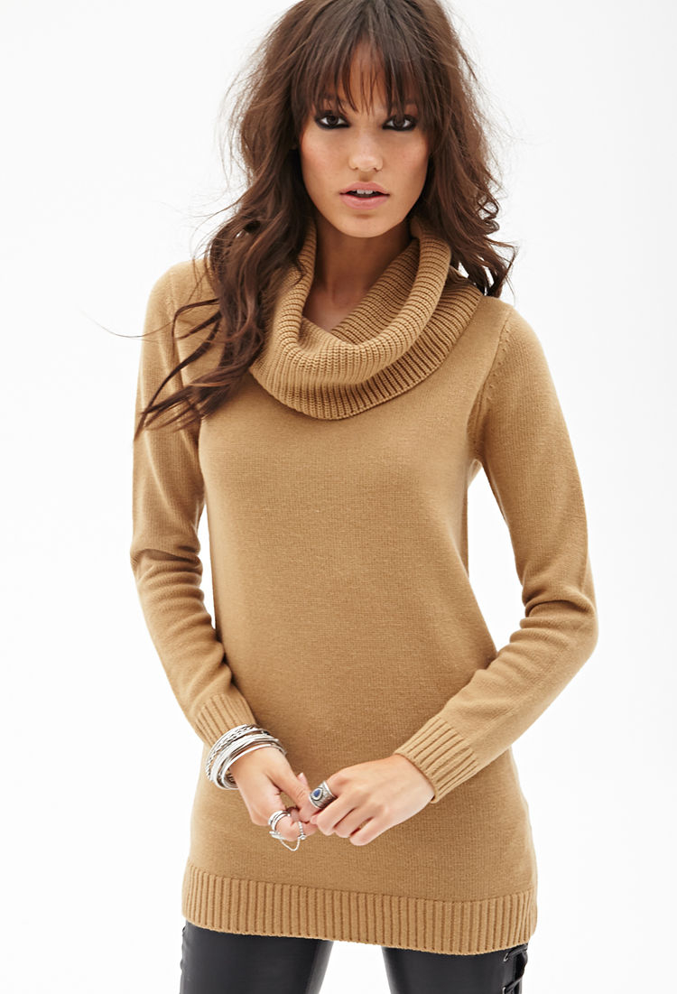 Forever 21 Ribbed Cowl Neck Sweater in Brown | Lyst