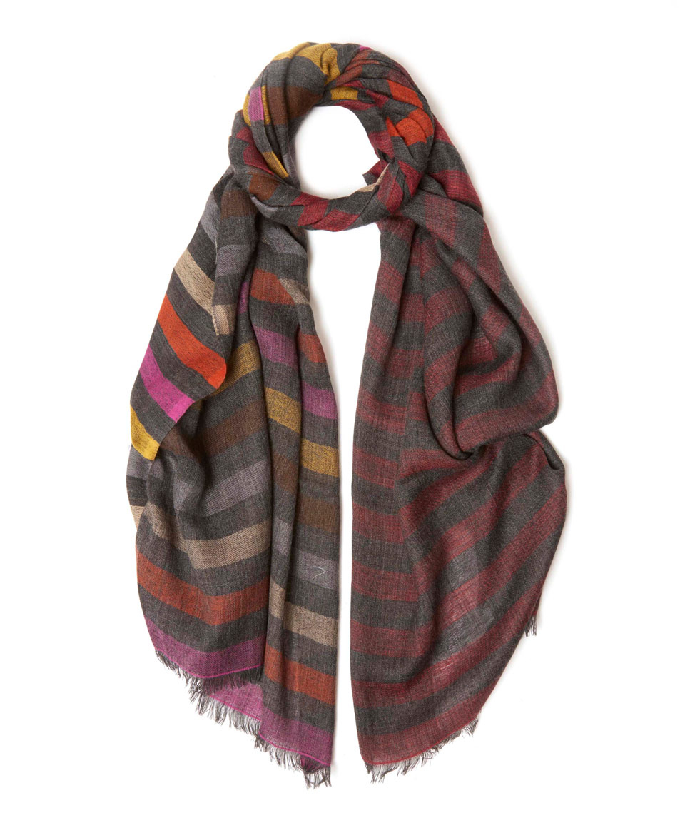 tilo grey striped wool scarf in gray for lyst