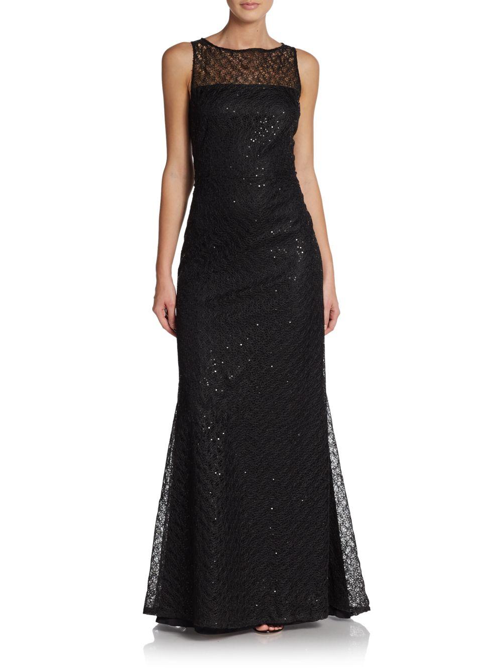 Lyst - St. John Gossamer Lace Gown in Black