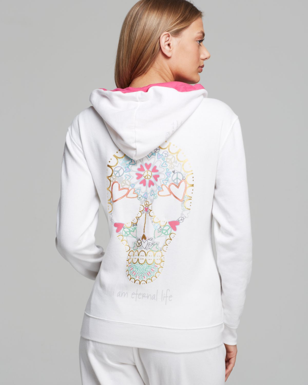 Rated 4 out of 5 by IROLYNOT from PEACE LOVE WORLD COWL NECK HOODIE I am not much of a 'hoodie' wearer but I do love this one! I got it in the pink/lilac and the joggers to match. I gave it 4 stars because they do not bring in enough larger sizes to be able to get the matches I want.