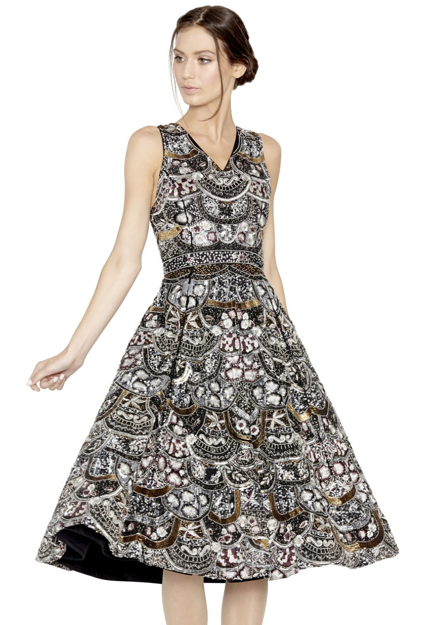 Lyst Alice Olivia Bee Beaded Dress In Black