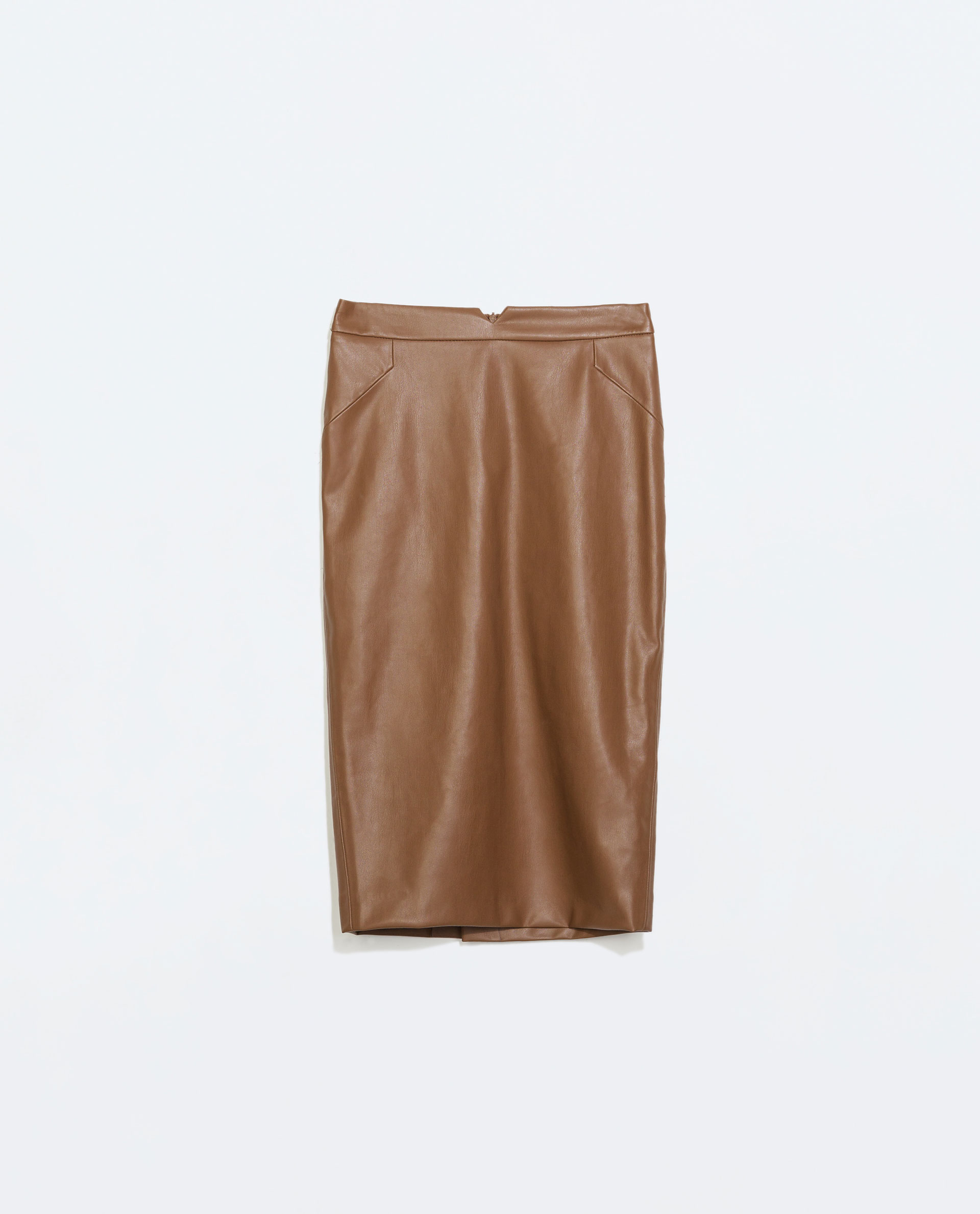zara faux leather skirt in brown leather lyst