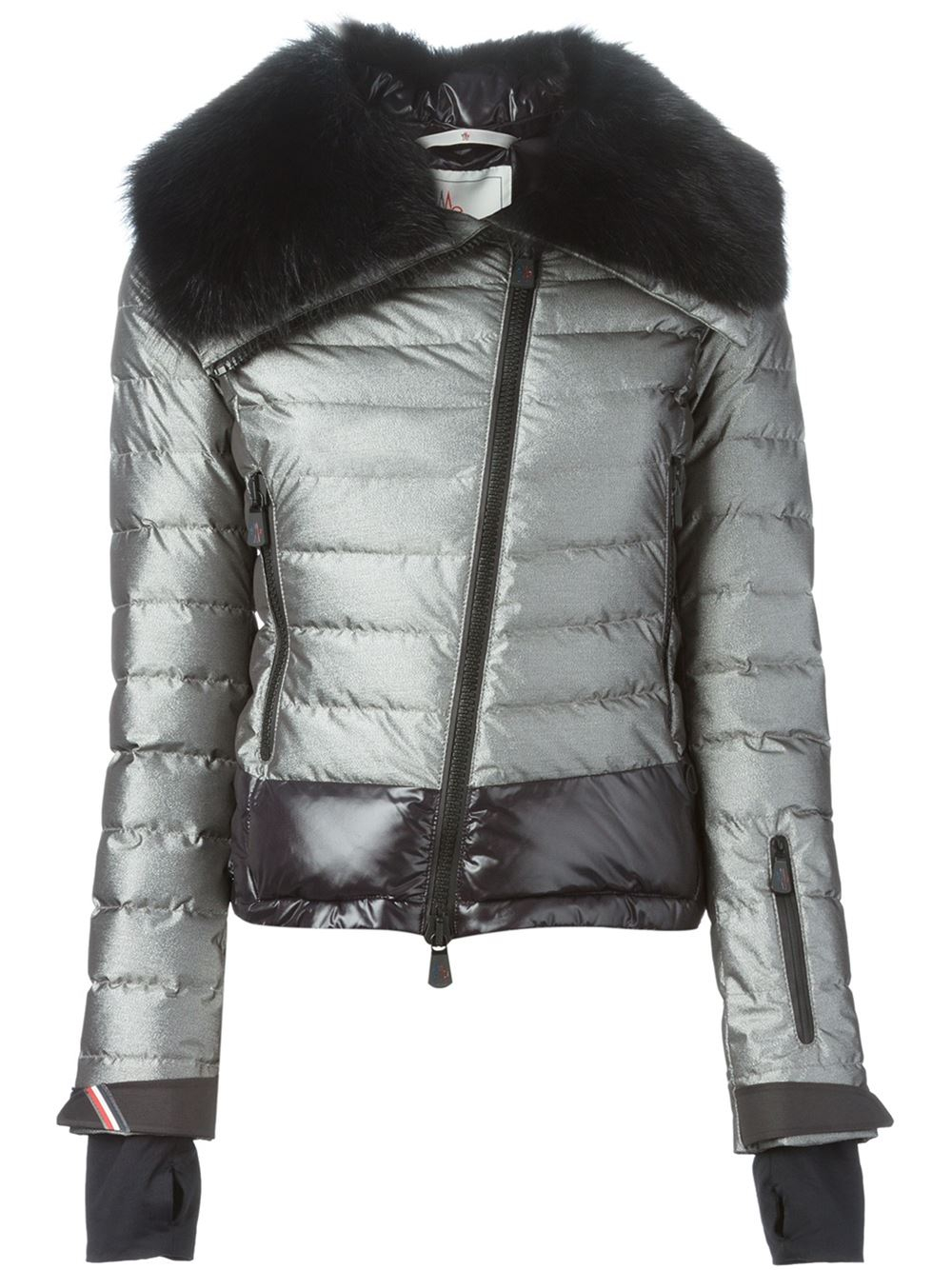 32023ab9a 3 MONCLER GRENOBLE Faux-fur Trimmed Collar Padded Jacket in Metallic ...