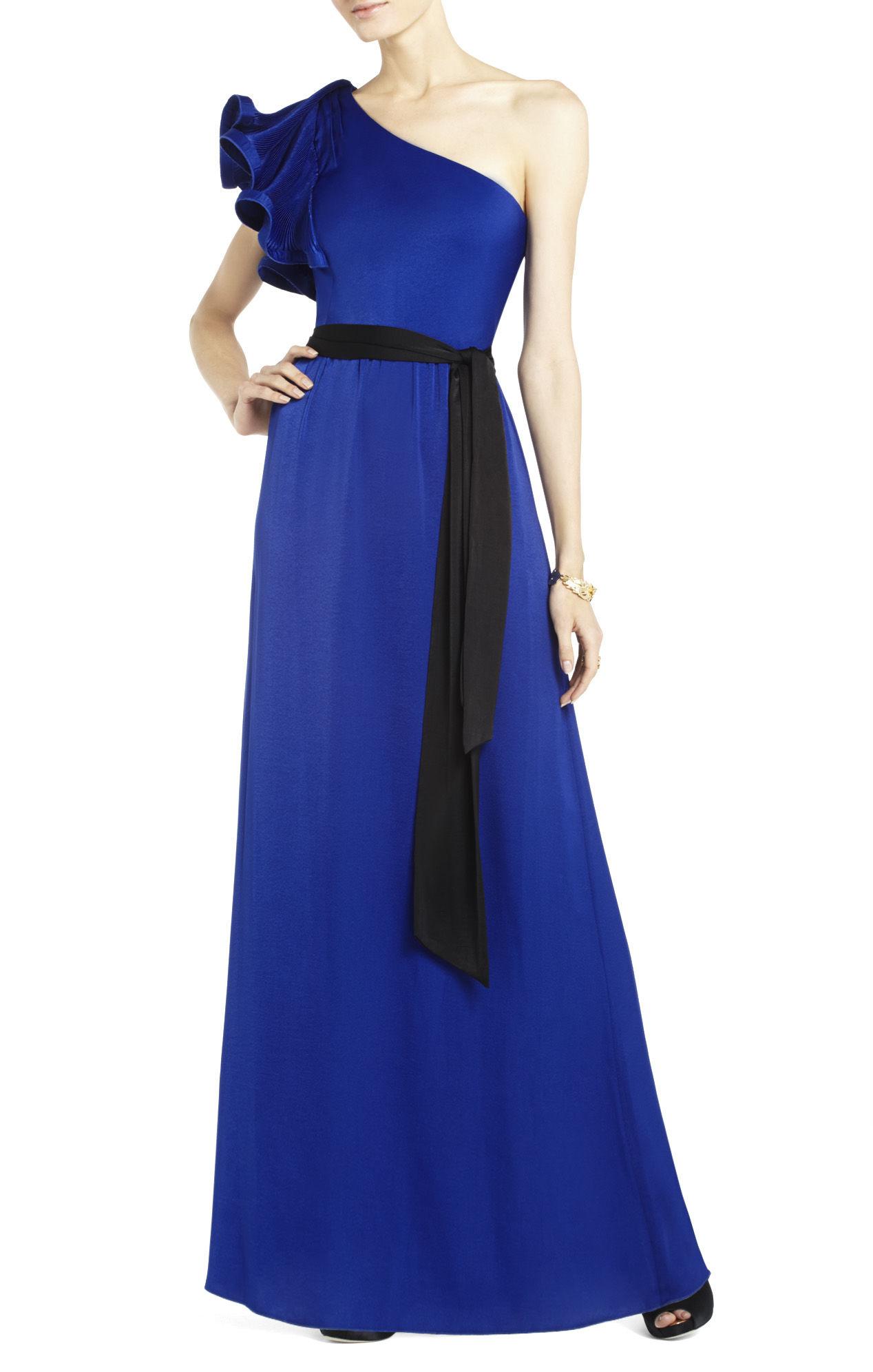 Lyst Bcbgmaxazria Mel One Shoulder Long Length Dress In Blue